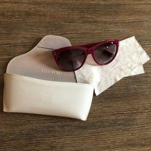 Valentino Cat Eye Rockstud Sunglasses Red